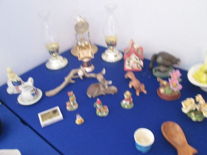 Hurricane Lamps, Anniversary Clock and Small Figurines