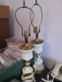 Pair of Vintage, Hob-Nail Milk Glass, Lamp Bases
