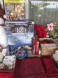 Boxed Holiday Displays, Table Linens and Decor
