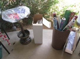 Gift Wrap and a Cute Bird Bath on the left (covered up)