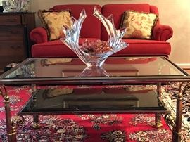 Handsome steel, brass, marble & glass coffee table $175