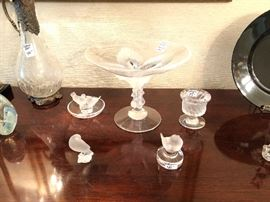 Lalique Virgina peacock compote and other small pieces