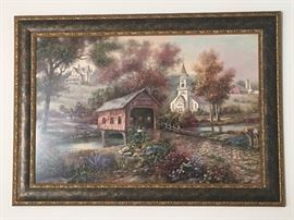 Large Carl Valente Painting with signature, Razzberry Creek Crossing