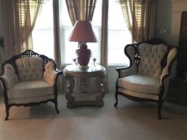 Fabulous his and his Provincial button tufted Kimball chairs