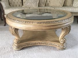 Large Schnadig coffee table with beveled glass