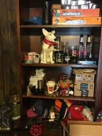 Bookcase with various collectables