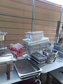 Assorted catering stainless steel serving containers