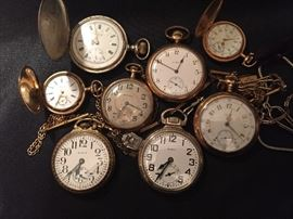 Men's and ladies pocket watches. Sterling silver and gold filled.  Elgin, Mignon, and Waltham. Working!
