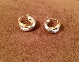 14kt gold earrings...yellow and white.