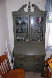 Nice Antique Painted Secretary Desk Hutch