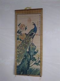 Peacock bamboo wall art.