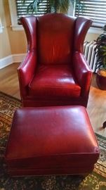 CLOSE-UP....CLUB CHAIR W/ OTTOMAN
