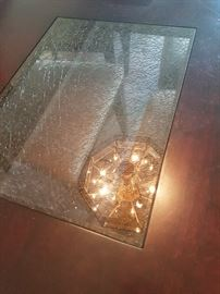 Dining Room Table with Crackled Glass Inlay and Chairs