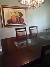 Dining Room Table with Crackled Glass Inlay and Chairs, Print of Fruit