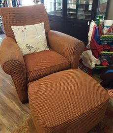 Ethan Allen Oversized Arm Chair and Ottoman