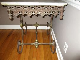 French Cast Iron Marble Baker's Table circa 1910