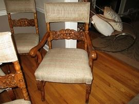 Quarter Sawn Highly Carved Dining room Chairs
