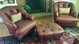 13. Pair of Century Leather Tufted Barrel Back Club Chairs (2'10'' x 2'6'' x 36'') & Ottoman (2'6'' x 2' x 14'')