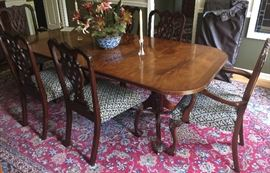 27. Double Pedestal Federal Mahogany Inlayed Dining Table w/ 2 (21'') Leaves and Custom Pads (86'' x 3'5'')                                                                                                    26. Ribbon Back Chippendale Beven Funnel Mahogany Dining Chairs (2 Arm, 6 Side)