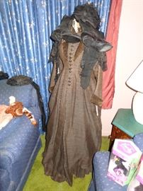 Antique Victorian period dress with dress form
