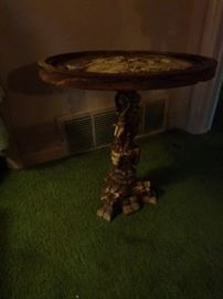 composite decorative pedestal table,  marble top plant stand,