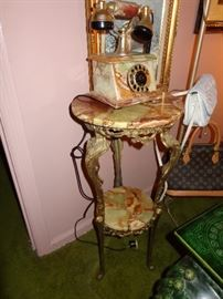 Vintage marble and brass French style telephone with matching two tier marble and brass stand,