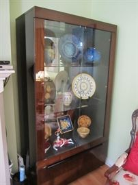 PR OF VERY NICE CURIO CABINETS  ITEMS IN CASE NOT FOR SALE