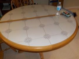 Tile Top Dining Table with leaf and 4 chairs