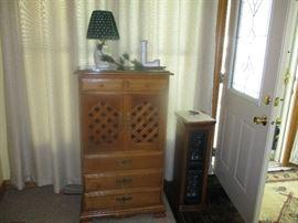 Storage cabinet, Longaberger Pottery lamp