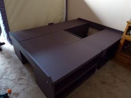 Hand made queen bed platform. Shelves on both side. Breaks down into smaller pieces for easy moving.