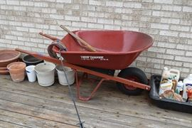 Wheelbarrow, outdoor plant containers, lawn care products