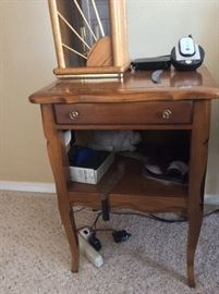 Antique full size bed, matching dresser with mirror, 2 night stands, and a chest of drawers