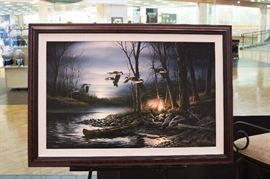 Terry Redlin - Evening Glow - legacy edition - signed & numbered.  Taking bids on this large, framed canvas.  Call 573-579-1969 to leave your best bid!