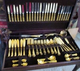 sHEFFIELD PLATED LARGE SERVICE $100 ----CHEST FOR FLATWARE $100