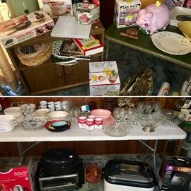 Large selection of kitchen and other household items including glassware, appliances, and more. Many items include original box. Mix of vintage/collectible and modern items. MANY items not pictured.