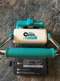 """Arts and crafts materials and scrapbooking equipment including brand new """"The Cinch"""" binding machine by We R Memory Keepers and large guillotine paper cutter."""