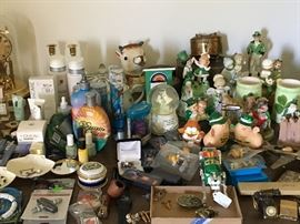 MANY vintage ceramic figurines and collectible music boxes, high-end / luxury brand cosmetic items, misc. vintage collectibles; LOTS of Irish themed items.