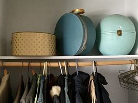 Vintage hat and wig boxes, Variety of mens and women's coats,  jackets, suits and blazers