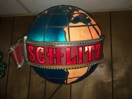 Working vintage 3-dimensional Schlitz beer globe / neon  sign. Other working neon signs include Coors and Stroh Light (pictured) plus lots of other collectible barware not shown.