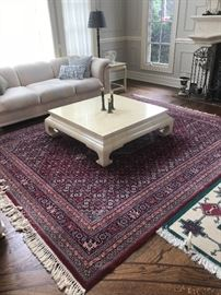 Henredon marble cocktail table, Henredon sofa and love seat, and hand made rug from Pakistan.