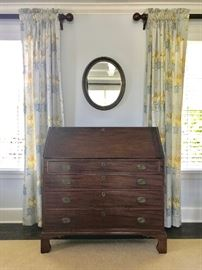 Charming Slant Top Desk and 4 Winows of Drapes