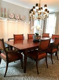 Harvest Dining Table 8 FT in Cherry with TEN Chairs Zebra Beige Carpet