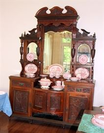 Monumental Antique English Etagere / Breakfront China Cabinet