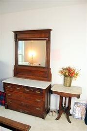 Eastlake Marble Top Dresser & Marble Top Table