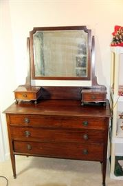 Antique Dresser & Mirror with Handkerchief Drawers