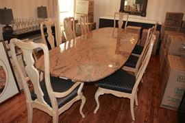 Granite Dining Table with 8 Country French Chairs