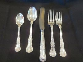 KING GEORGE STERLING SILVER FLATWARE  12 COMPLETE 5PCS PLACE SETTINGS