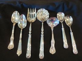 KING GEORGE STERLING SILVER SERVING PCS - 7 PICTURED