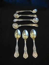 KING GEORGE STERLING SILVER- SMALL SPOONS 7 PICTURED