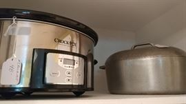 Crock pot & vintage iron roaster